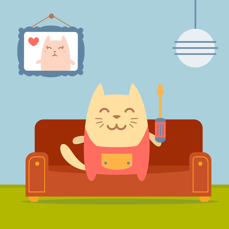 neatness: Character  home handyman in uniform colorful flat.  Cat male sits on a couch in a comfortable flat holding  a screwdriver Illustration