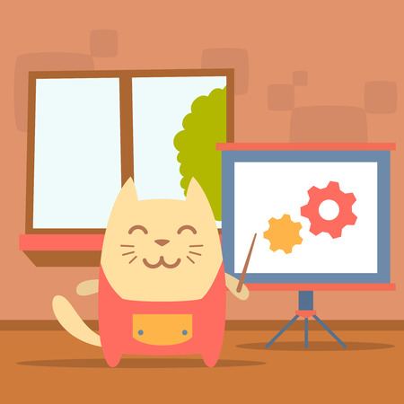Character  home handyman in uniform colorful flat. Cat male stands indoors with window near blackboard for notes holding a pointer