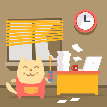 janitorial: Character  home handyman in uniform colorful flat. Cat male stands indoors at the table with a laptop and piles of paper documents holding  a screwdriver