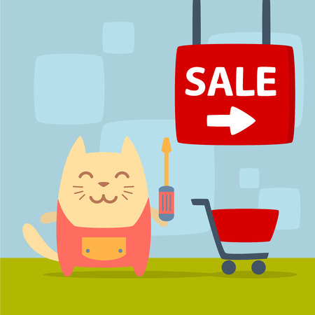 Character  home handyman in uniform colorful flat. Cat male stands in the store near the shopping cart holding  a screwdriver