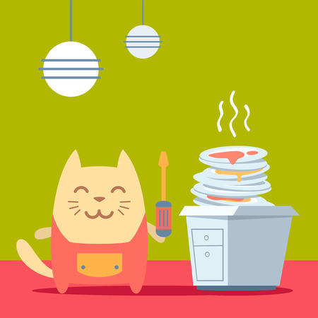 Character  home handyman in uniform colorful flat. Cat male stands in the kitchen near a pile of dirty dishes  holding  a screwdriver