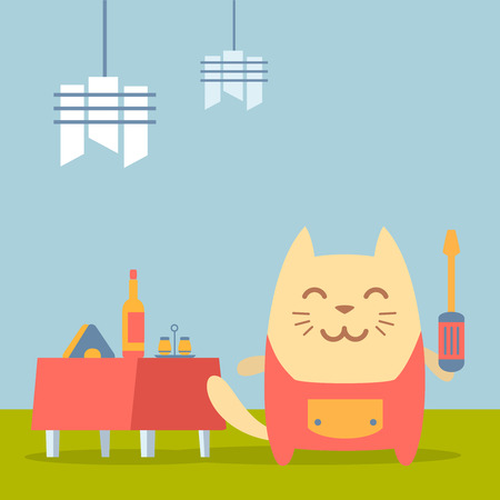 Character  home handyman in uniform colorful flat. Cat male stands in a cafe near decorated table holding  a screwdriver