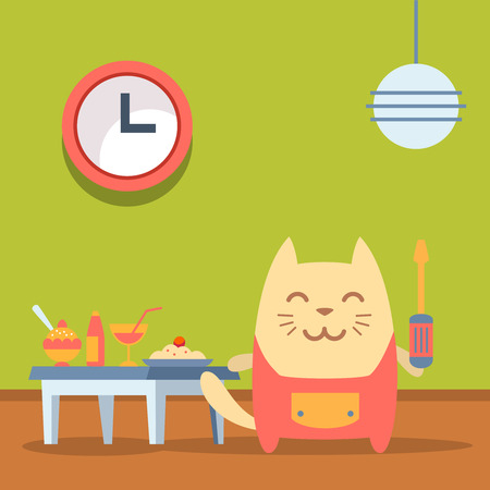 neatness: Character  home handyman in uniform colorful flat. Cat male stands in a cafe near the table with food holding  a screwdriver Illustration