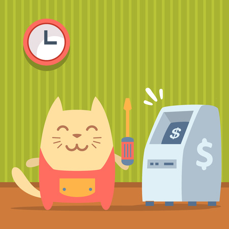 bankomat: Character   home handyman in uniform colorful flat. Cat male stands indoors near ATM holding  a screwdriver Illustration