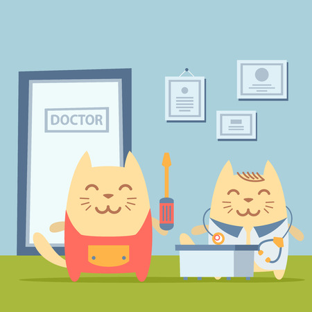 neatness: Character   home handyman in uniform colorful flat. Cat male stands the doctors office at the table holding  a screwdriver