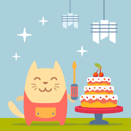 Character  home handyman in uniform colorful flat. Cat male stands near the big beautiful cake  holding  a screwdriver Ilustração