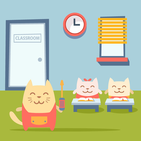 Character  home handyman in uniform colorful flat. Cat male stands near desks in the classroom holding  a screwdriver