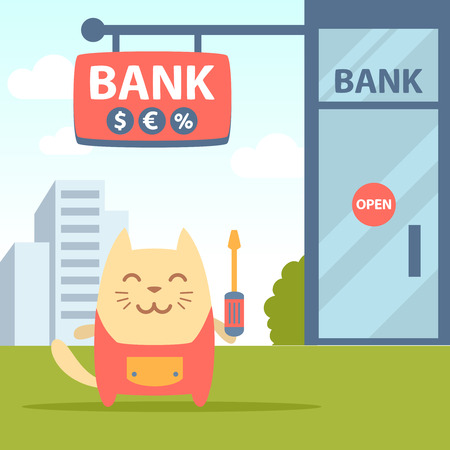 Character  home handyman in uniform colorful flat. Cat male stands near the entrance to a bank outside holding  a screwdriver Illustration