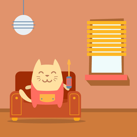 arm chair: Character  home handyman in uniform colorful flat.  Cat male sits on an arm  chair in the apartment holding  a screwdriver