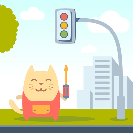 neatness: Character  home handyman in uniform colorful flat. Cat male stands on a city street near the traffic lights holding  a screwdriver