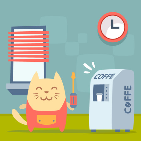 Character   home handyman in uniform colorful flat. Cat male stands indoors near the coffee machine, coffee break holding  a screwdriver Illustration