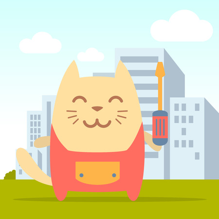tree removal service: Character  home handyman in uniform colorful flat. Cat male stands on the street outside the city holding  a screwdriver Illustration