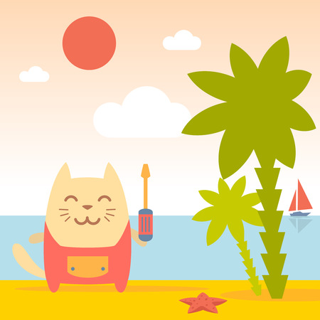 Character  home handyman in uniform colorful flat. Cat male stands on the beach near the sea and palm trees holding  a screwdriver