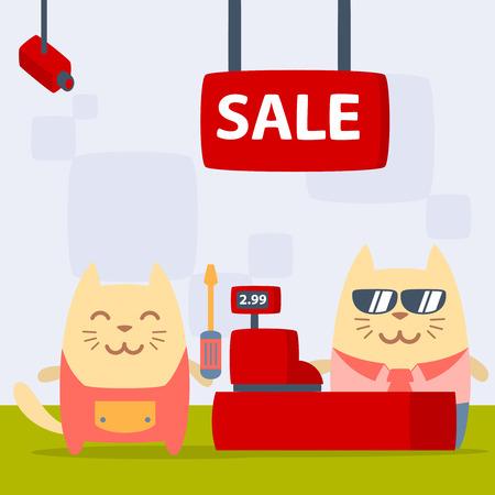 money cat: Car�cter manitas casa en plano colorido uniforme. Masculino Gato se encuentra en la tienda cerca de la caja registradora que sostiene un destornillador