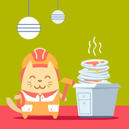 unwashed: Character builder in helmet and coveralls colorful flat. Cat male stands in the kitchen near a pile of dirty dishes holding a rope and hammer Illustration