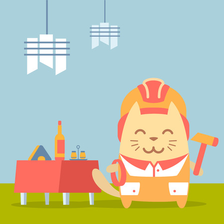 coveralls: Character builder in helmet and coveralls colorful flat. Cat male stands in a cafe near decorated table holding a rope and hammer