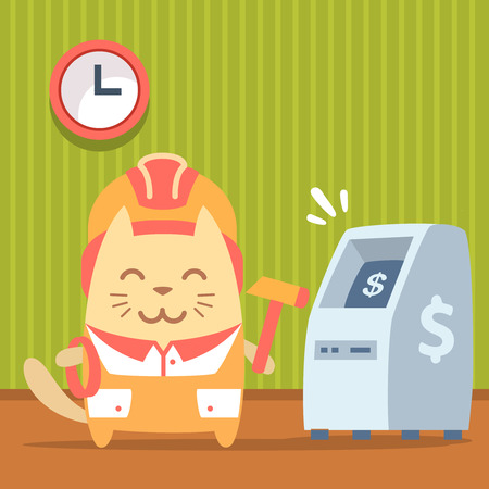 bankomat: Character builder in helmet and coveralls colorful flat. Cat male stands indoors near ATM holding a rope and hammer