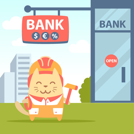 coveralls: Character builder in helmet and coveralls colorful flat. Cat male stands near the entrance to a bank outside holding a rope and hammer