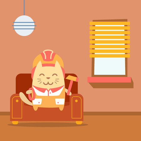 coveralls: Character builder in helmet and coveralls colorful flat. Cat male sits on an arm chair in the apartment holding a rope and hammer