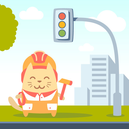 coveralls: Character builder in helmet and coveralls colorful flat. Cat male stands on a city street near the traffic lights holding a rope and hammer