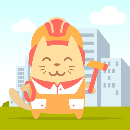coveralls: Character builder in helmet and coveralls colorful flat. Cat male stands on the street outside the city holding a rope and hammer