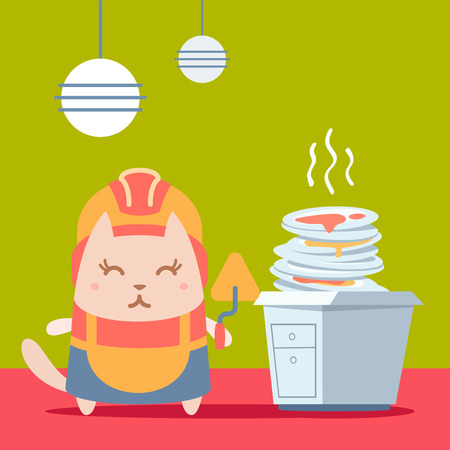 unwashed: Character builder in helmet and coveralls colorful flat. Cat female stands in the kitchen near a pile of dirty dishes holding a trowel