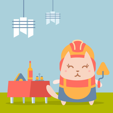Character builder in helmet and coveralls colorful flat. Cat female stands in a cafe near decorated table holding a trowel