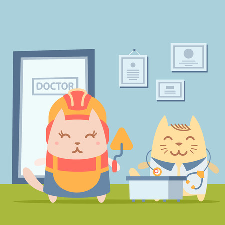 coveralls: Character builder in helmet and coveralls colorful flat. Cat female stands the doctors office at the table holding a trowel Illustration