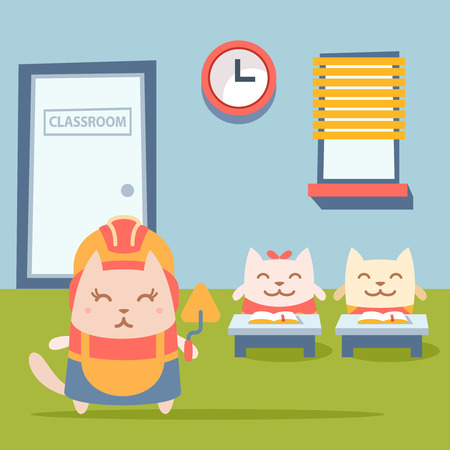 Character builder in helmet and coveralls colorful flat. Cat female stands near desks in the classroom holding a trowel