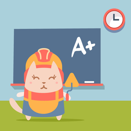 Character builder in helmet and coveralls colorful flat. Cat female stands near blackboard in classroom holding a trowel