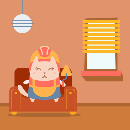 Character builder in helmet and coveralls colorful flat. Cat female sits on an arm chair in the apartment holding a trowel Illustration