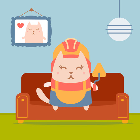 coveralls: Character builder in helmet and coveralls colorful flat. Cat female sits on a couch in a comfortable flat holding a trowel