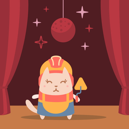 Character builder in helmet and coveralls colorful flat. Cat female performs on stage holding a trowel Illustration