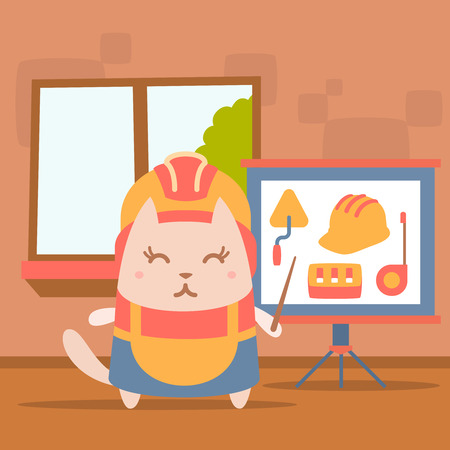 coveralls: Character builder in helmet and coveralls colorful flat. Cat female stands indoors with window near blackboard for notes holding a pointer