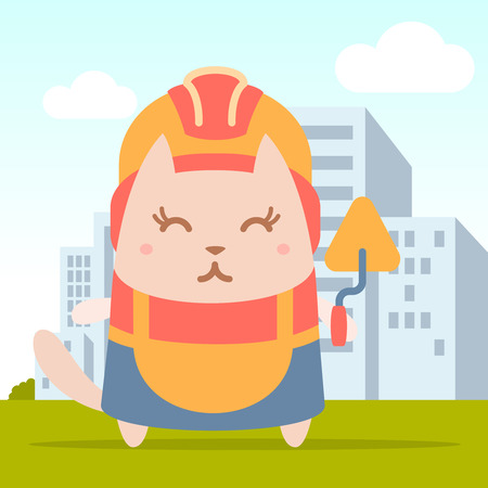 coveralls: Character builder in helmet and coveralls colorful flat. Cat female stands on the street outside the city holding a trowel