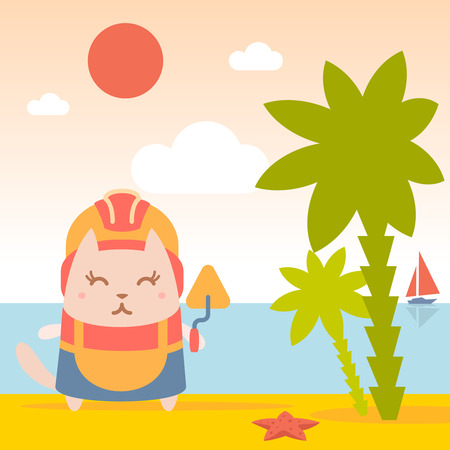 coveralls: Character builder in helmet and coveralls colorful flat. Cat female stands on the beach near the sea and palm trees holding a trowel Illustration