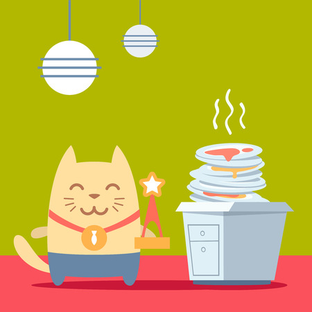 unwashed: Character winner with a medal colorful flat. Cat male stands in the kitchen near a pile of dirty dishes holding a award Illustration