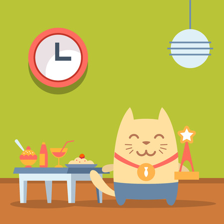 bring up: Character winner with a medal colorful flat. Cat male stands in a cafe near the table with food holding a award