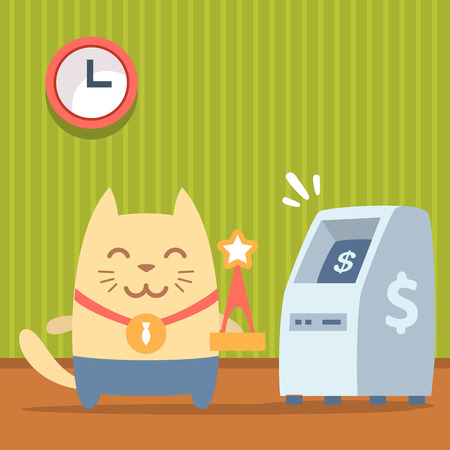 bankomat: Character winner with a medal colorful flat. Cat male stands indoors near ATM holding a award Illustration