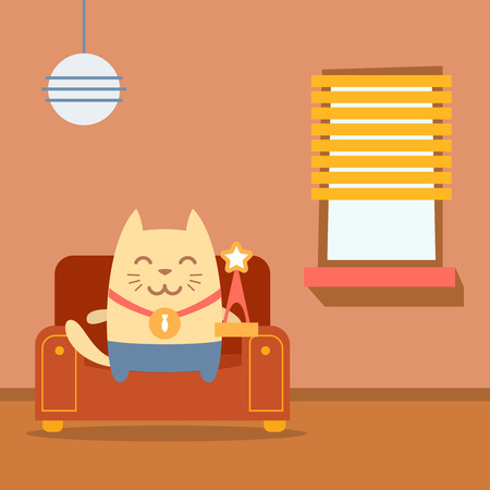 arm chair: Character winner with a medal colorful flat. Cat male sits on an arm chair in the apartment holding a award