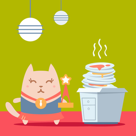 unwashed: Character winner with a medal colorful flat. Cat female stands in the kitchen near a pile of dirty dishes holding a award Illustration