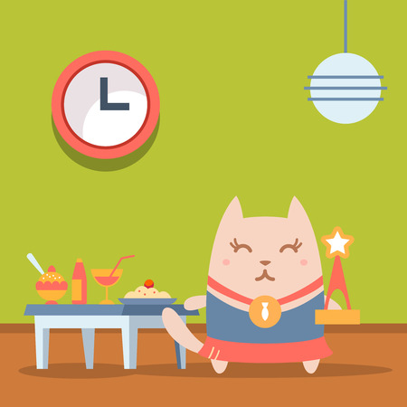 bring up: Character winner with a medal colorful flat. Cat female stands in a cafe near the table with food holding a award