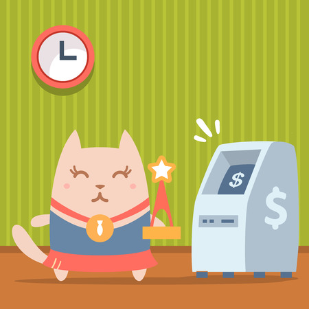 bankomat: Character winner with a medal colorful flat. Cat female stands indoors near ATM holding a award