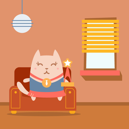 arm chair: Character winner with a medal colorful flat. Cat female sits on an arm chair in the apartment holding a award Illustration