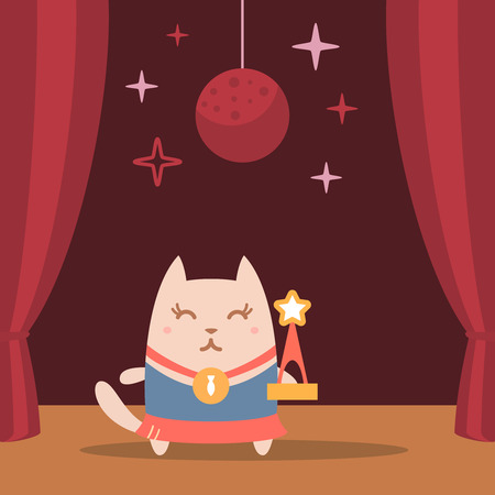 night club interior: Character winner with a medal colorful flat. Cat female performs on stage holding a award