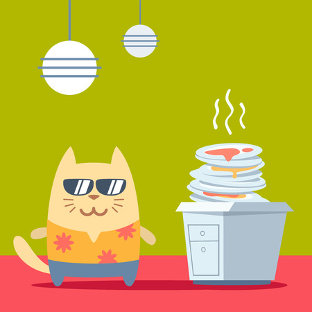 unwashed: Character  tourist wearing sunglasses and a shirt with flowers colorful flat. Cat male stands in the kitchen near a pile of dirty dishes Illustration