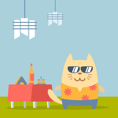 Character  tourist wearing sunglasses and a shirt with flowers colorful flat. Cat male stands in a cafe near decorated table Vector