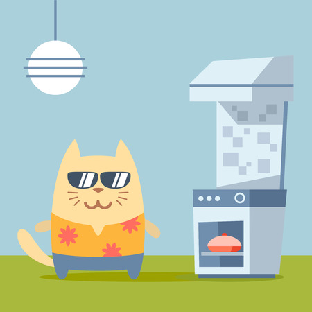 Character  tourist wearing sunglasses and a shirt with flowers colorful flat. Cat male stands in the kitchen near the stove Vector