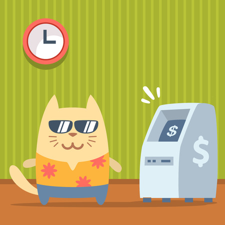 bankomat: Character  tourist wearing sunglasses and a shirt with flowers colorful flat. Cat male stands indoors near ATM