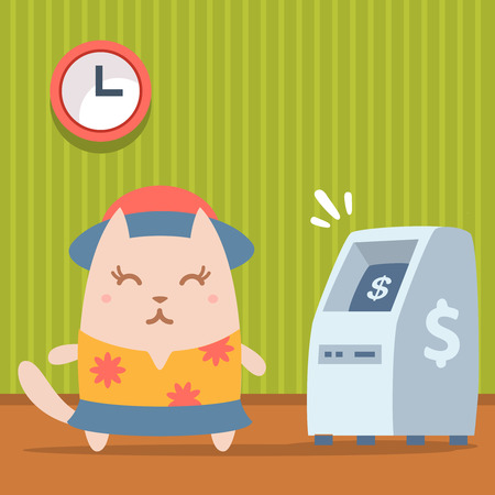 bankomat: Character tourist wearing sunglasses, hat and a shirt with flowers colorful flat. Cat female stands indoors near ATM Illustration